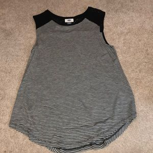 Black Striped Tank Top with Lacy Details